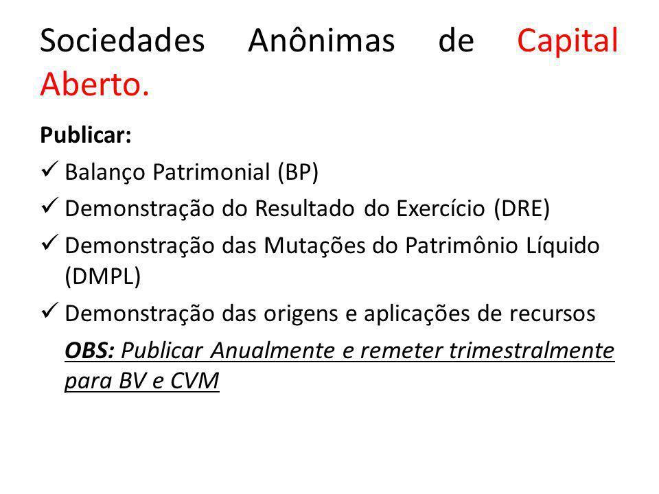 Sociedades Anônimas de Capital Aberto.