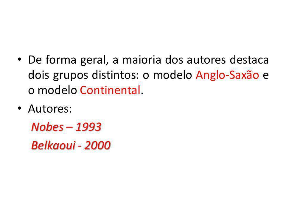 De forma geral, a maioria dos autores destaca dois grupos distintos: o modelo Anglo-Saxão e o modelo Continental.