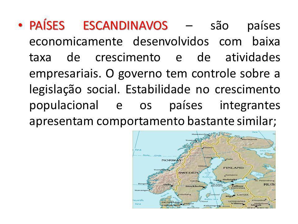 PAÍSES ESCANDINAVOS – são países economicamente desenvolvidos com baixa taxa de crescimento e de atividades empresariais.