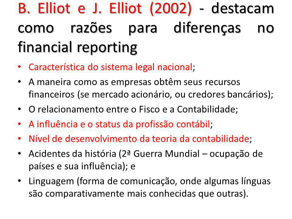 B. Elliot e J. Elliot (2002) - destacam como razões para diferenças no financial reporting