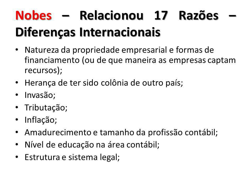Nobes – Relacionou 17 Razões – Diferenças Internacionais