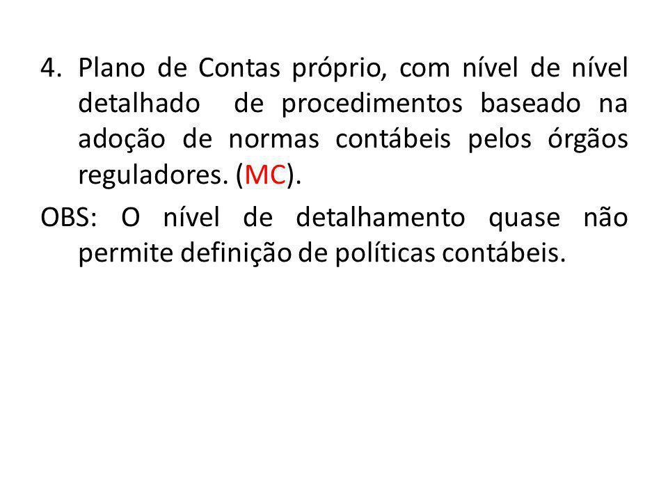 Plano de Contas próprio, com nível de nível detalhado de procedimentos baseado na adoção de normas contábeis pelos órgãos reguladores. (MC).