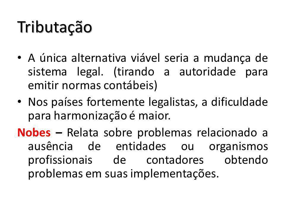 Tributação A única alternativa viável seria a mudança de sistema legal. (tirando a autoridade para emitir normas contábeis)