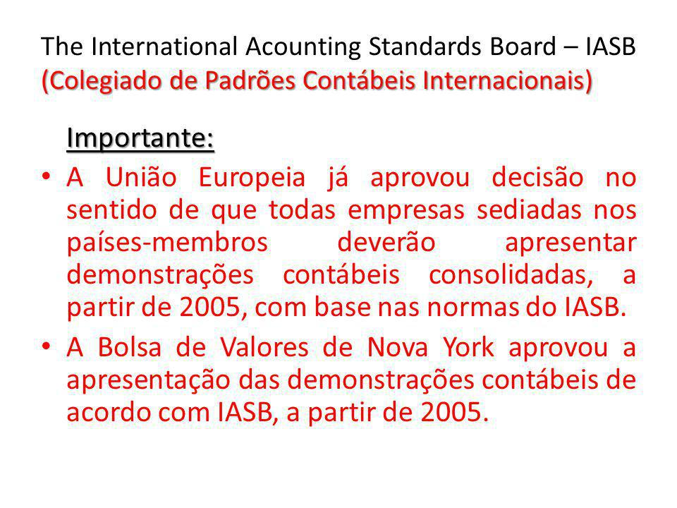 The International Acounting Standards Board – IASB (Colegiado de Padrões Contábeis Internacionais)