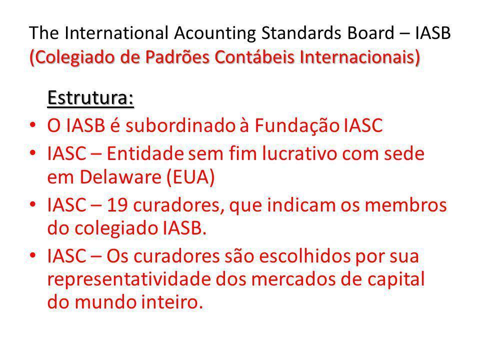 O IASB é subordinado à Fundação IASC