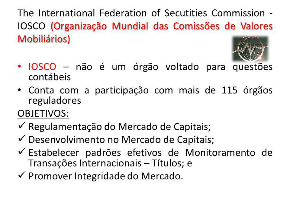 The International Federation of Secutities Commission - IOSCO (Organização Mundial das Comissões de Valores Mobiliários)