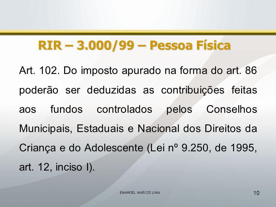 RIR – 3.000/99 – Pessoa Física
