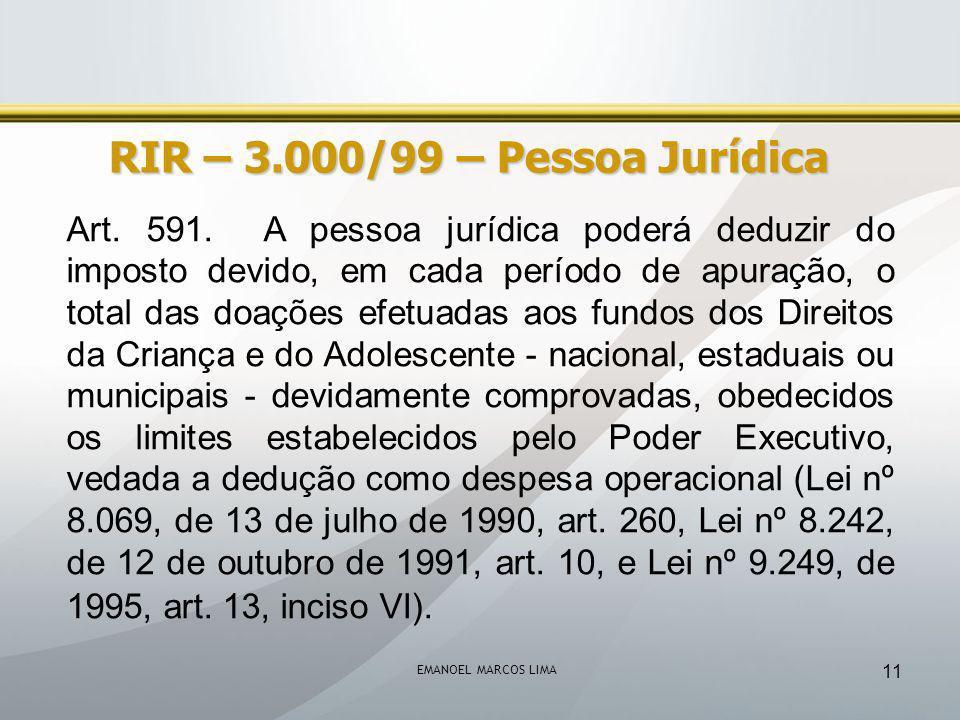 RIR – 3.000/99 – Pessoa Jurídica