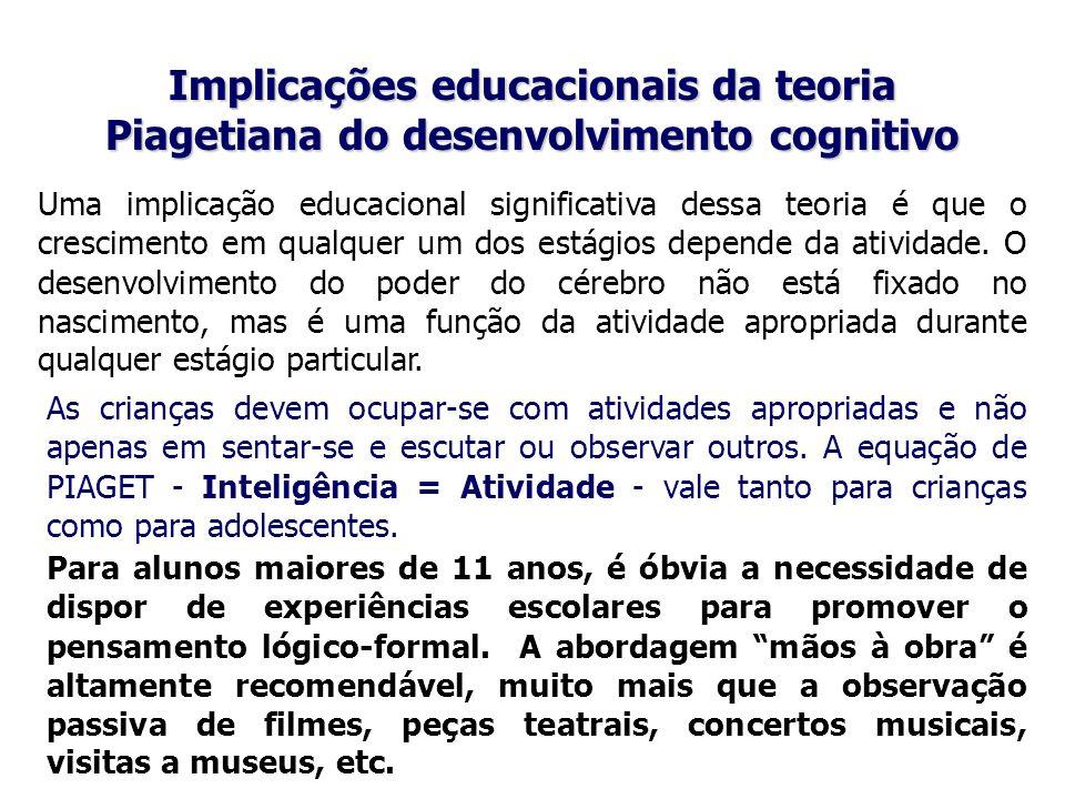 Implicações educacionais da teoria Piagetiana do desenvolvimento cognitivo