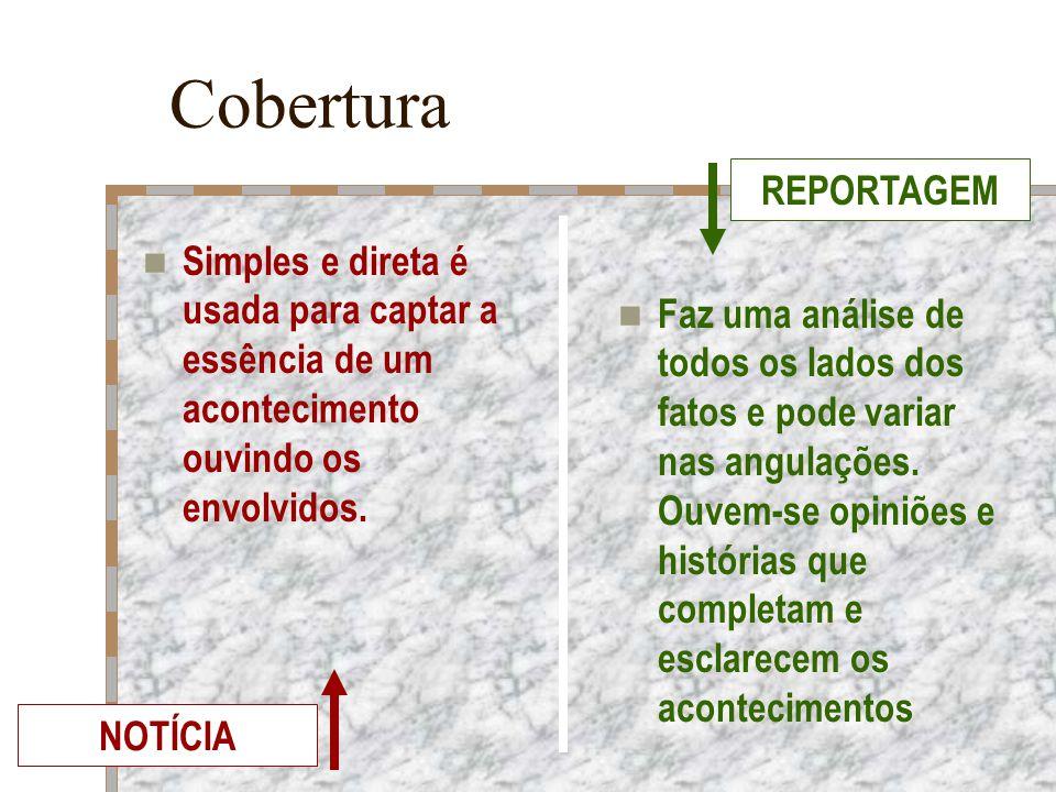 Cobertura REPORTAGEM. Simples e direta é usada para captar a essência de um acontecimento ouvindo os envolvidos.