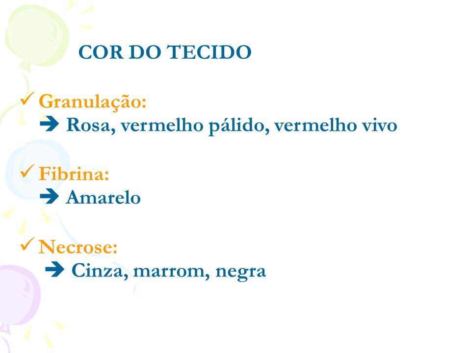 COR DO TECIDO Granulação:  Rosa, vermelho pálido, vermelho vivo.