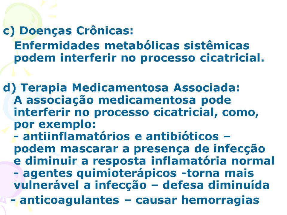 c) Doenças Crônicas: Enfermidades metabólicas sistêmicas podem interferir no processo cicatricial.