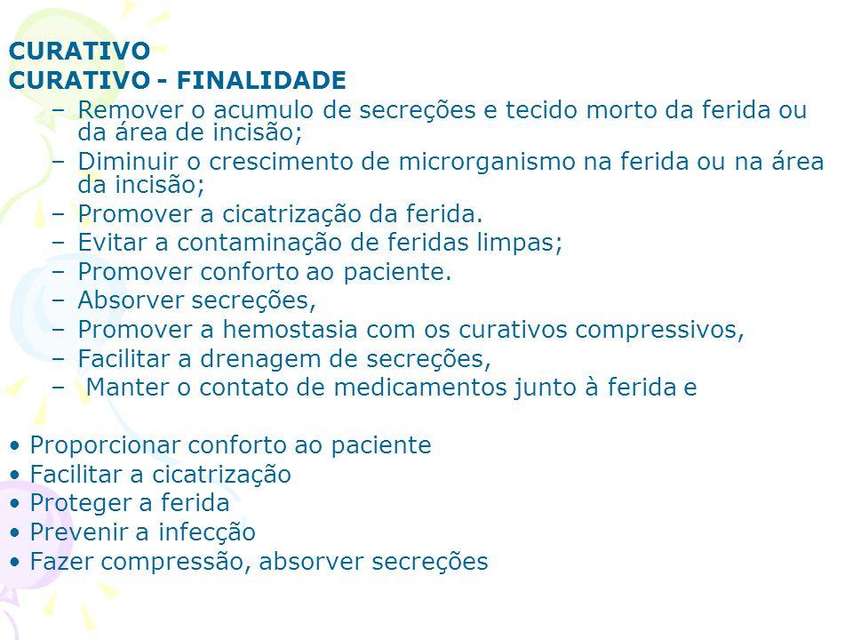 CURATIVO CURATIVO - FINALIDADE. Remover o acumulo de secreções e tecido morto da ferida ou da área de incisão;