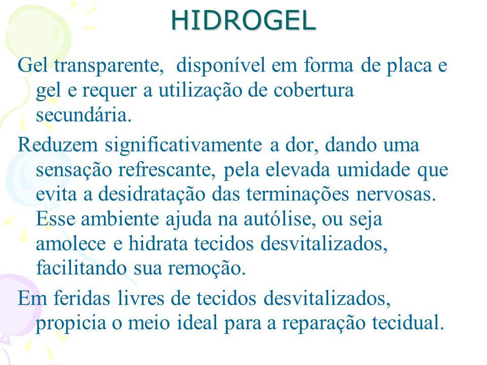 HIDROGEL Gel transparente, disponível em forma de placa e gel e requer a utilização de cobertura secundária.