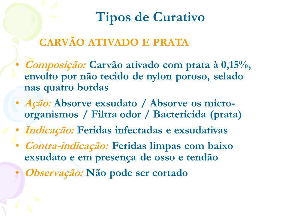 Tipos de Curativo CARVÃO ATIVADO E PRATA
