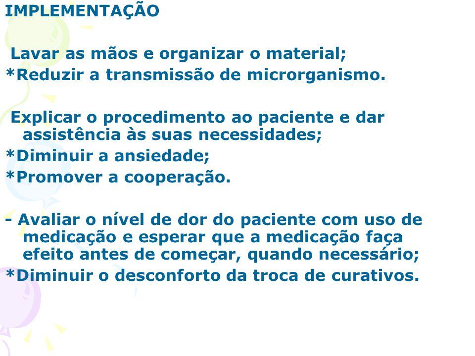 IMPLEMENTAÇÃO Lavar as mãos e organizar o material; *Reduzir a transmissão de microrganismo.