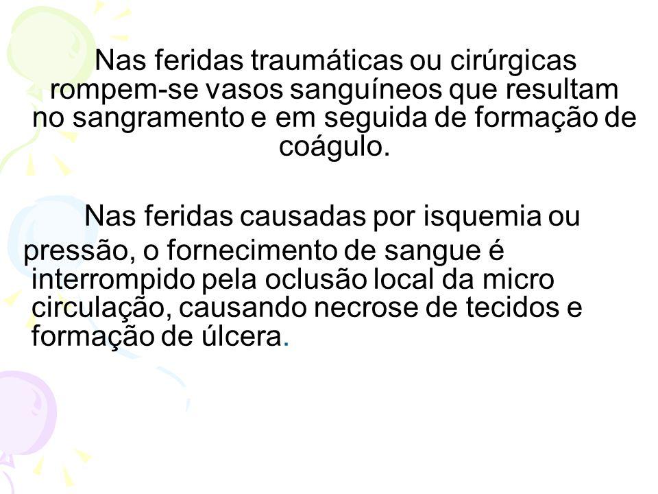 Nas feridas causadas por isquemia ou