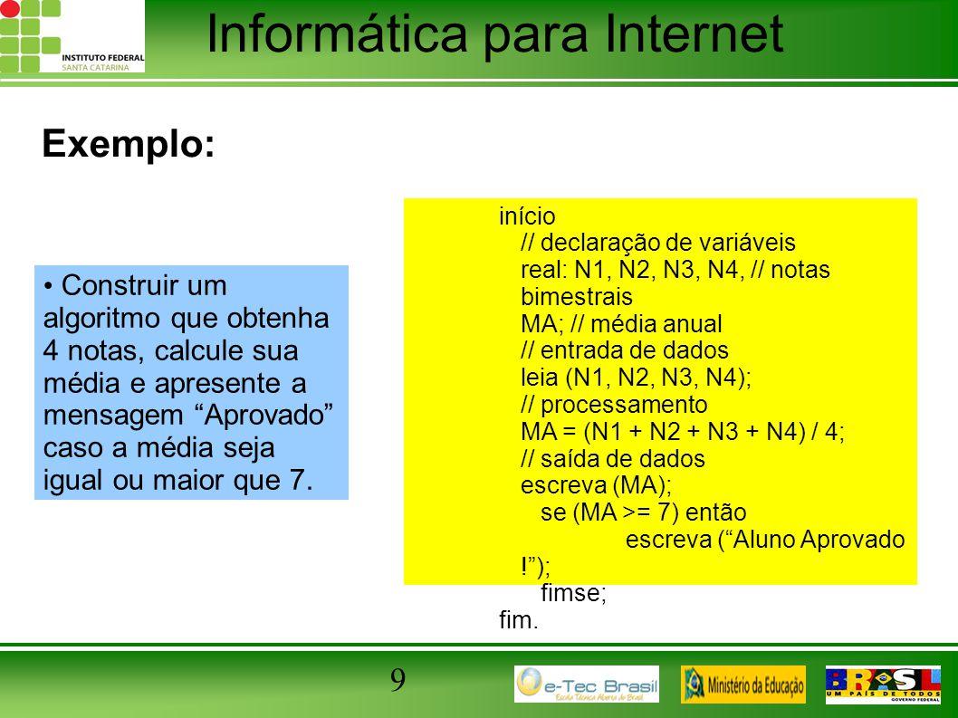 Exemplo: início. // declaração de variáveis. real: N1, N2, N3, N4, // notas bimestrais. MA; // média anual.