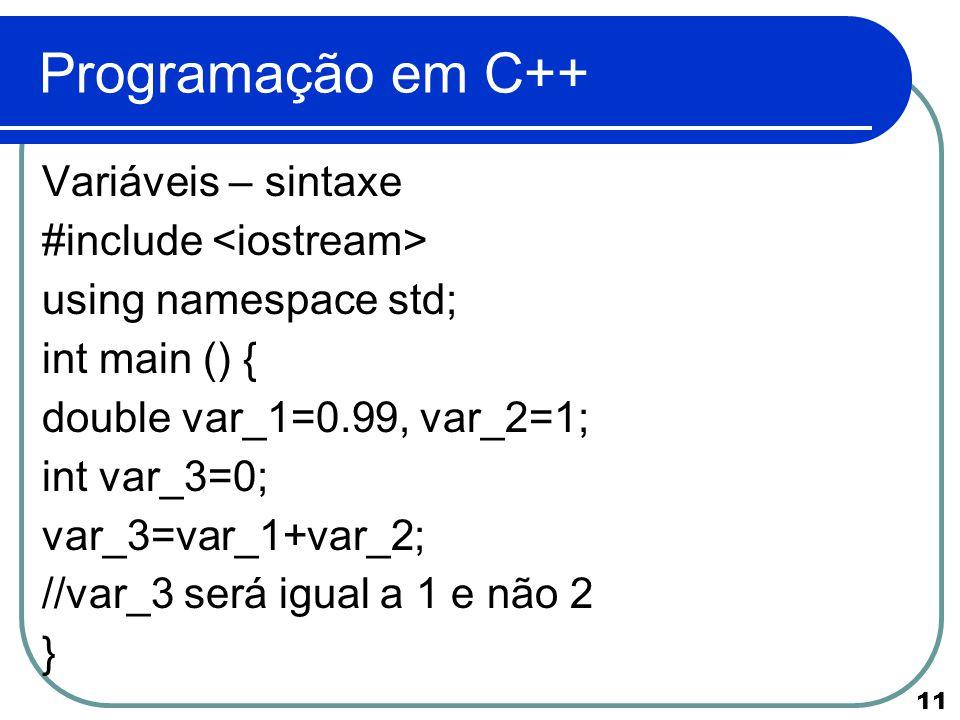 Programação em C++ Variáveis – sintaxe #include <iostream>