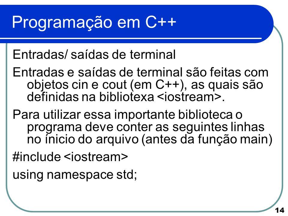Programação em C++ Entradas/ saídas de terminal