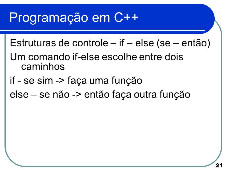 Programação em C++ Estruturas de controle – if – else (se – então)