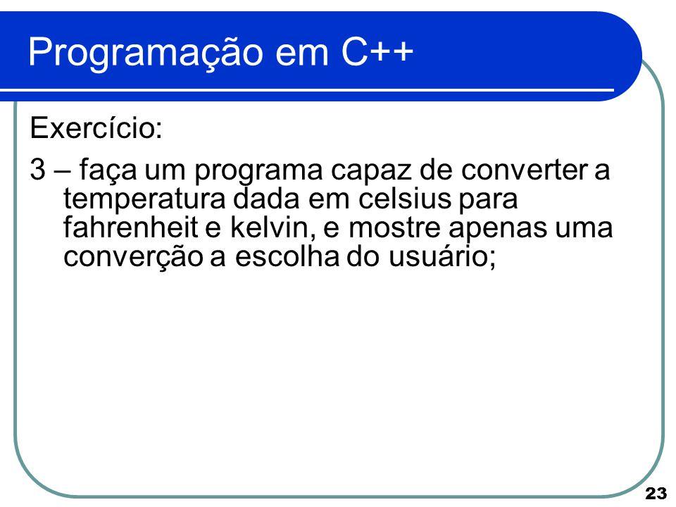 Programação em C++ Exercício:
