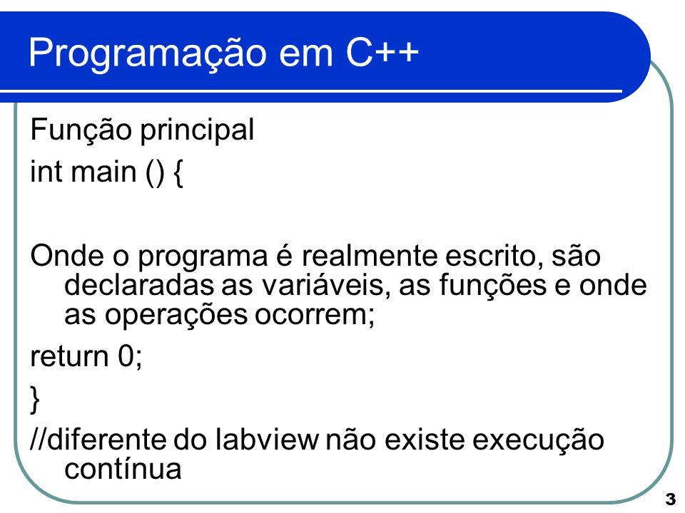 Programação em C++ Função principal int main () {