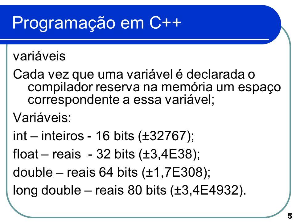 Programação em C++ variáveis