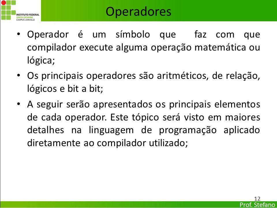 Operadores Operador é um símbolo que faz com que compilador execute alguma operação matemática ou lógica;