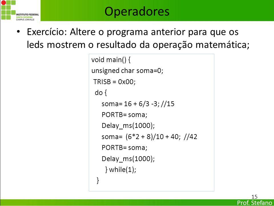 Operadores Exercício: Altere o programa anterior para que os leds mostrem o resultado da operação matemática;