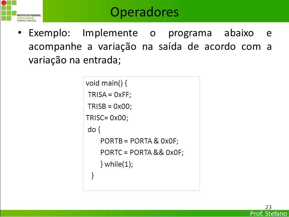 Operadores Exemplo: Implemente o programa abaixo e acompanhe a variação na saída de acordo com a variação na entrada;