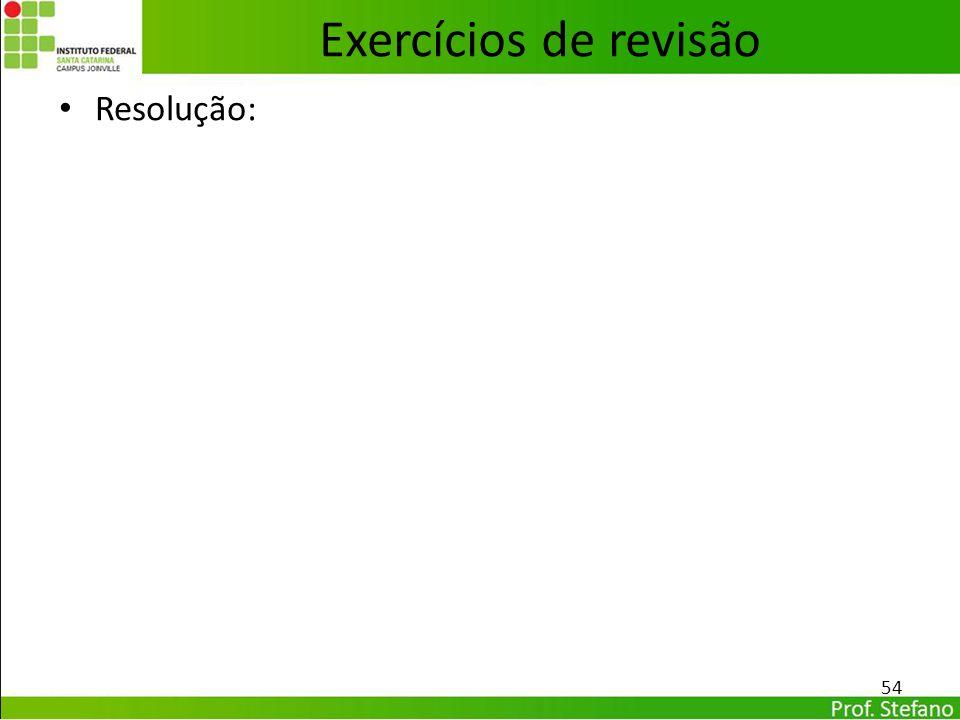 Exercícios de revisão Resolução: 54