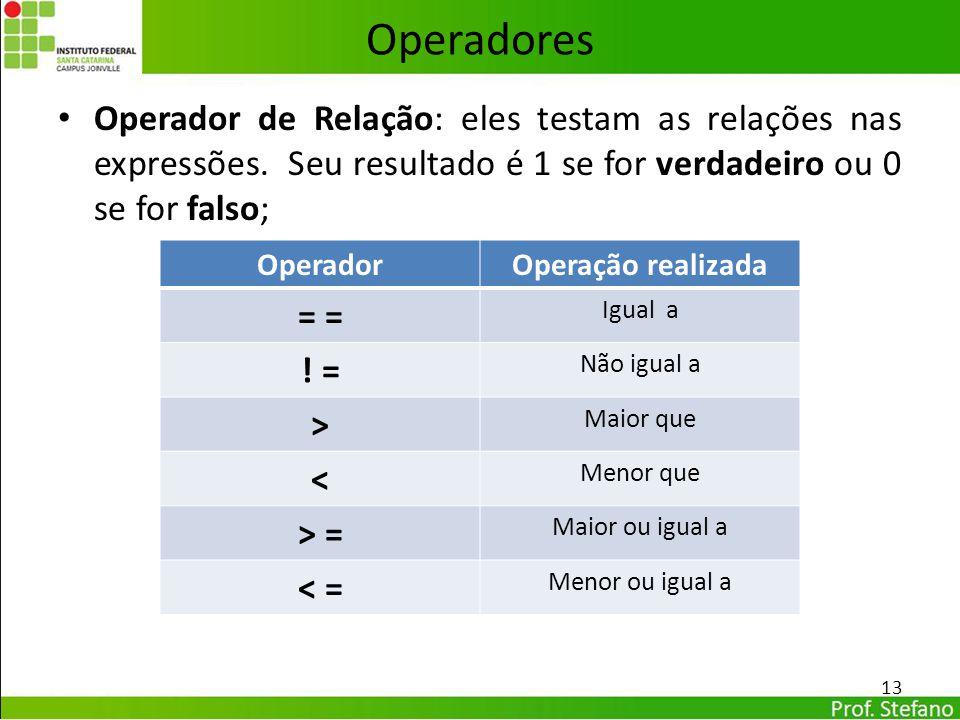 Operadores Operador de Relação: eles testam as relações nas expressões. Seu resultado é 1 se for verdadeiro ou 0 se for falso;