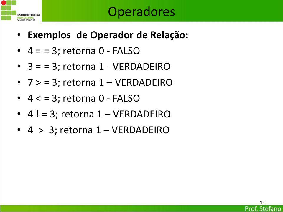 Operadores Exemplos de Operador de Relação: 4 = = 3; retorna 0 - FALSO