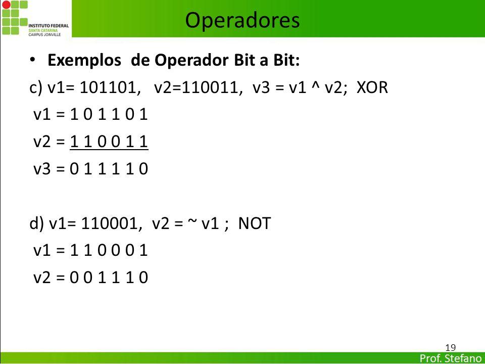 Operadores Exemplos de Operador Bit a Bit: