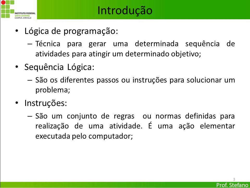 Introdução Lógica de programação: Sequência Lógica: Instruções: