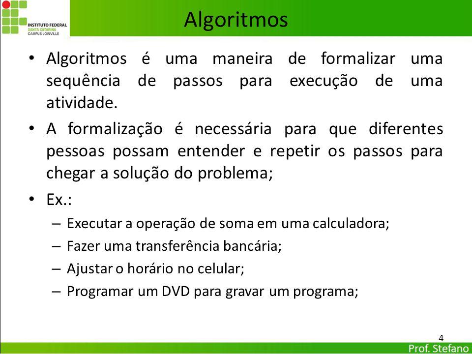 Algoritmos Algoritmos é uma maneira de formalizar uma sequência de passos para execução de uma atividade.