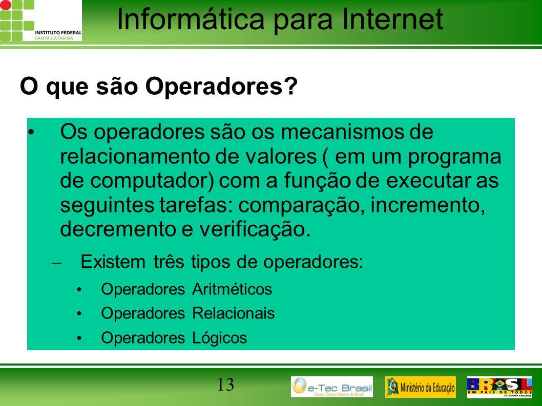 O que são Operadores