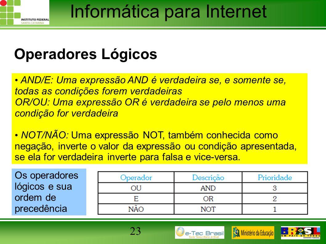 Operadores Lógicos AND/E: Uma expressão AND é verdadeira se, e somente se, todas as condições forem verdadeiras.