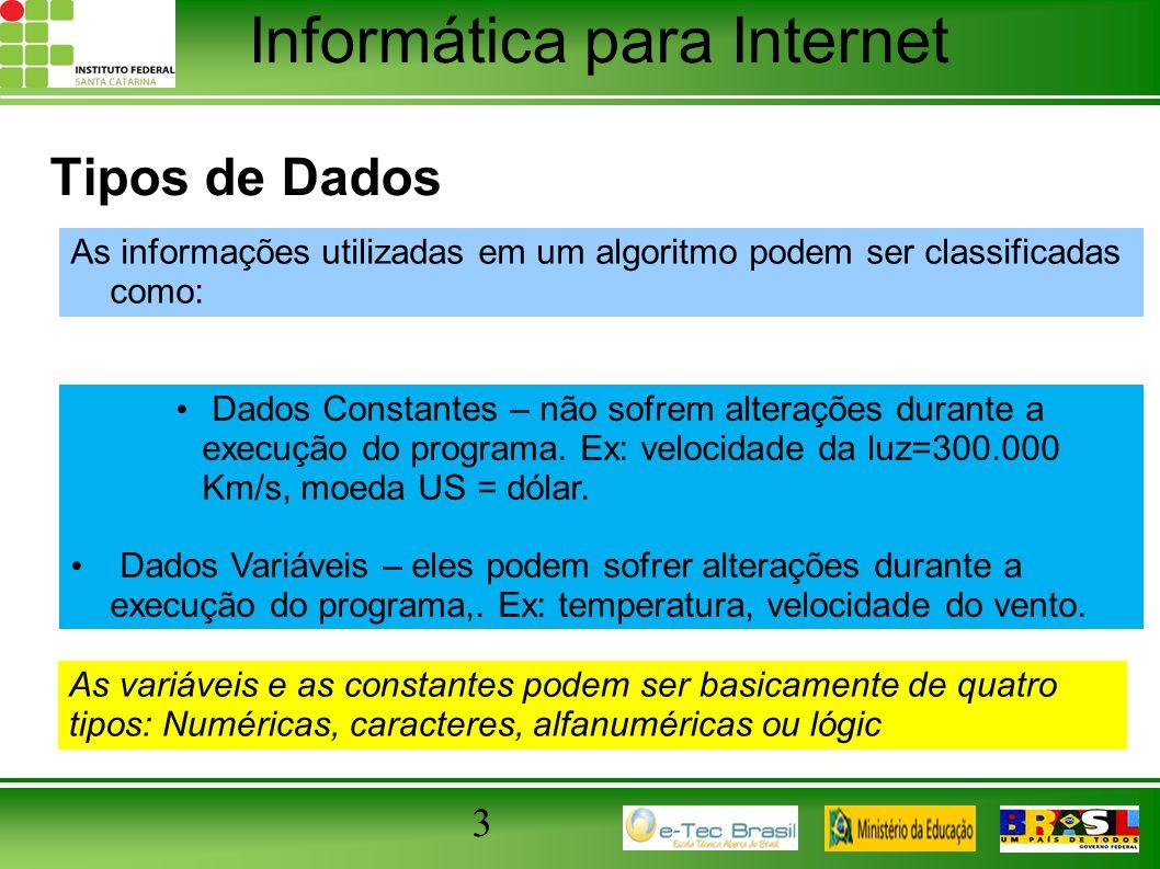 Tipos de Dados As informações utilizadas em um algoritmo podem ser classificadas como: