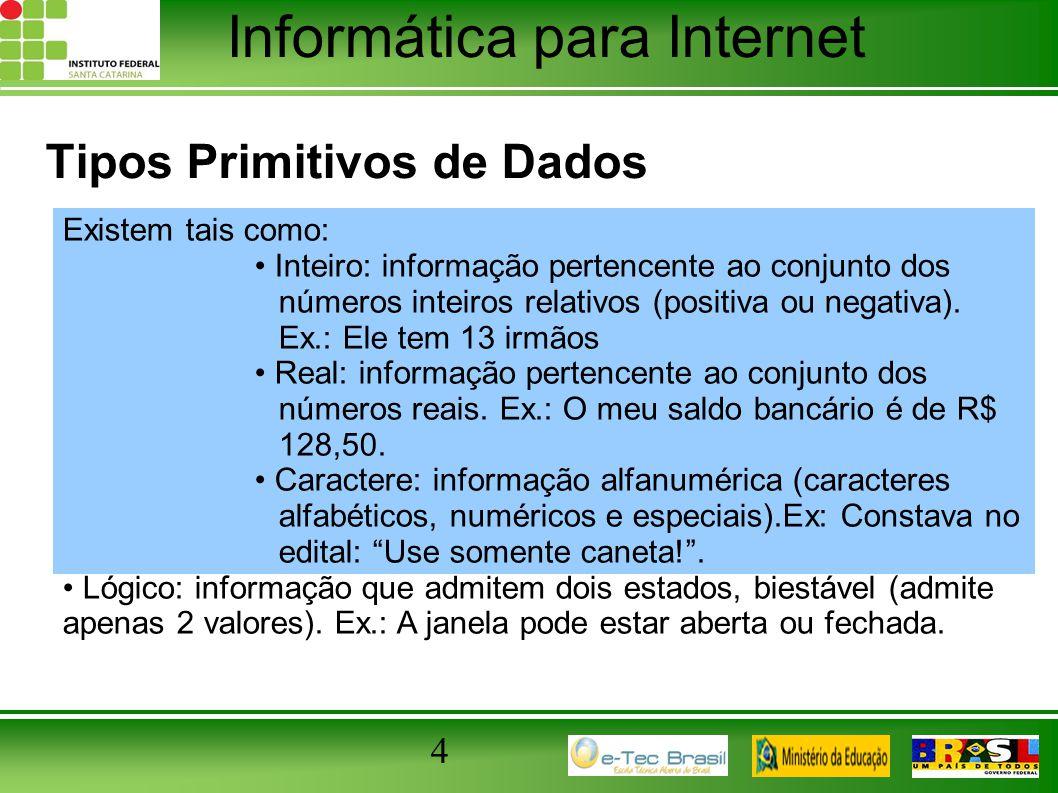 Tipos Primitivos de Dados