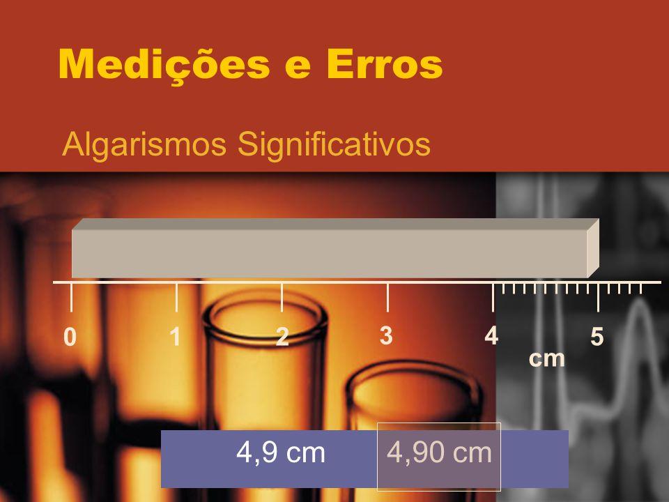 Medições e Erros Algarismos Significativos 1 2 3 4 5 cm 4,9 cm 4,90 cm