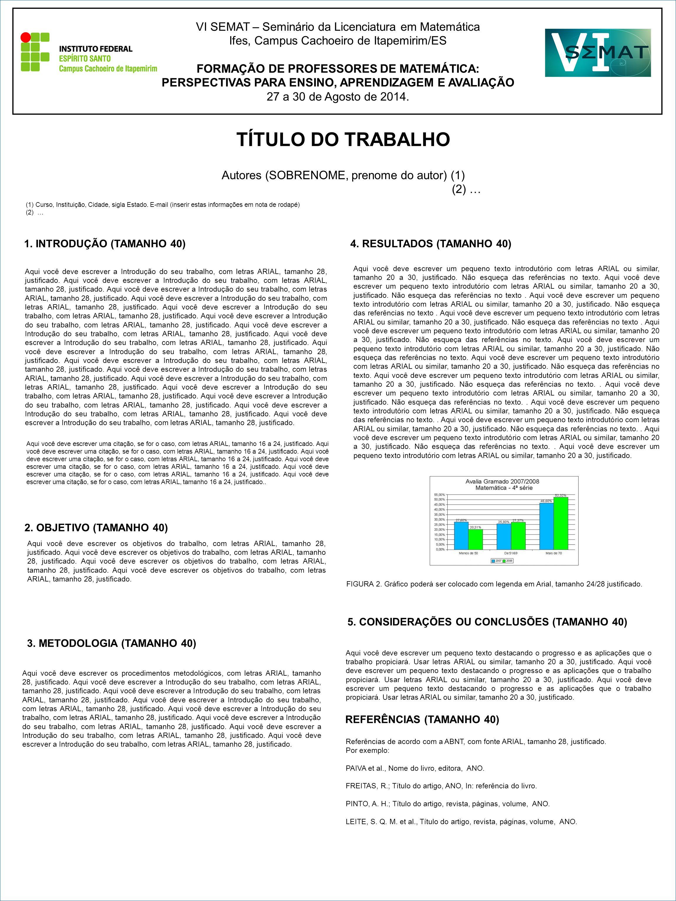 TÍTULO DO TRABALHO VI SEMAT – Seminário da Licenciatura em Matemática