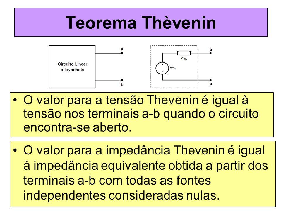 Teorema Thèvenin O valor para a tensão Thevenin é igual à tensão nos terminais a-b quando o circuito encontra-se aberto.