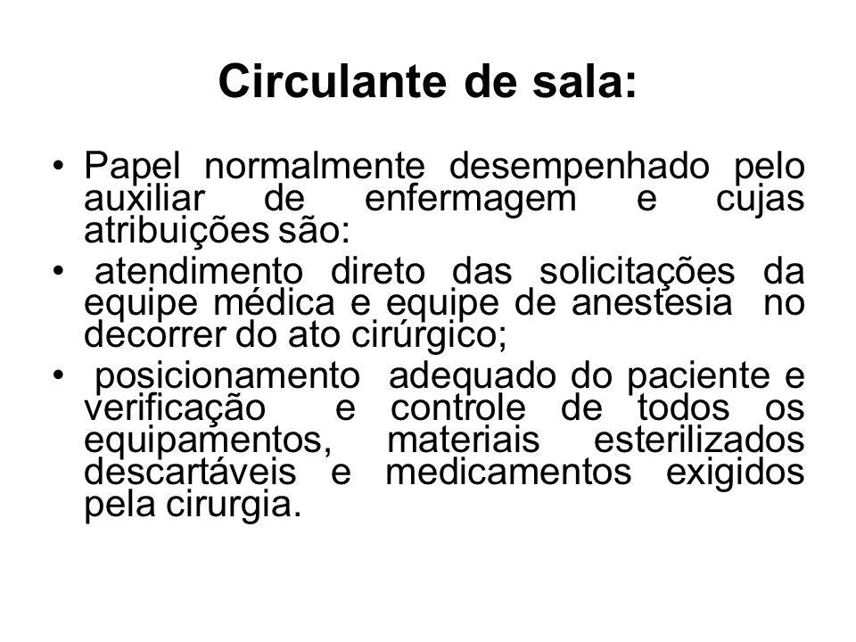 Circulante de sala: Papel normalmente desempenhado pelo auxiliar de enfermagem e cujas atribuições são: