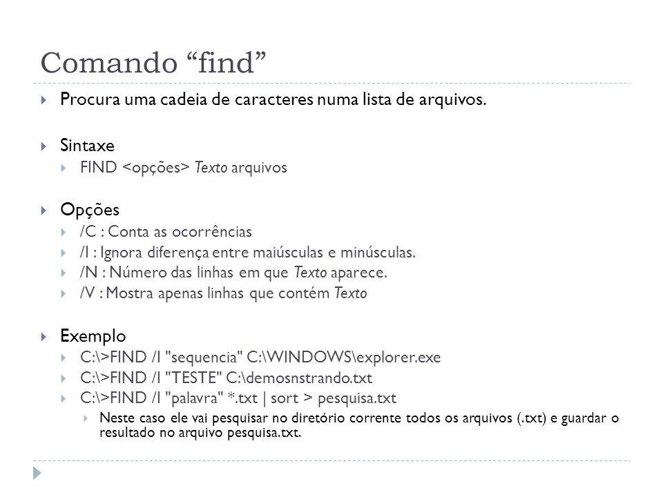 Comando find Procura uma cadeia de caracteres numa lista de arquivos. Sintaxe. FIND <opções> Texto arquivos.