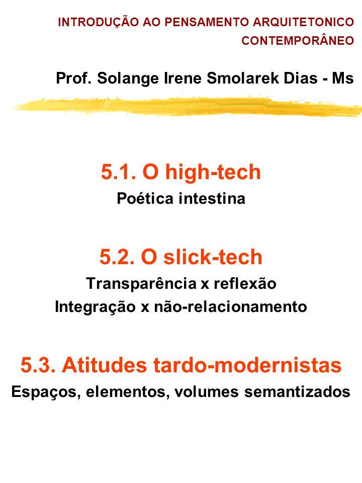 5.1. O high-tech 5.2. O slick-tech 5.3. Atitudes tardo-modernistas
