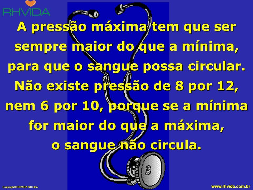 A pressão máxima tem que ser sempre maior do que a mínima, para que o sangue possa circular.