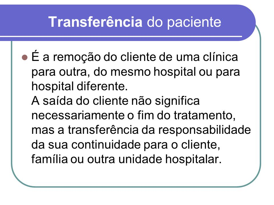 Transferência do paciente