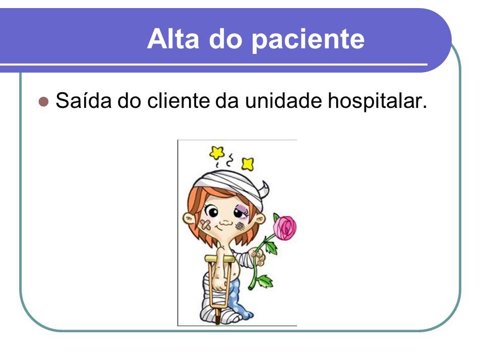 Alta do paciente Saída do cliente da unidade hospitalar.